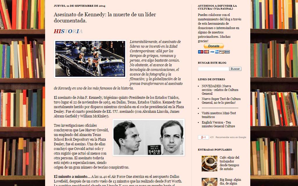 Captura de pantalla de uno de los artículos de Historia de este gran blog de cultura general