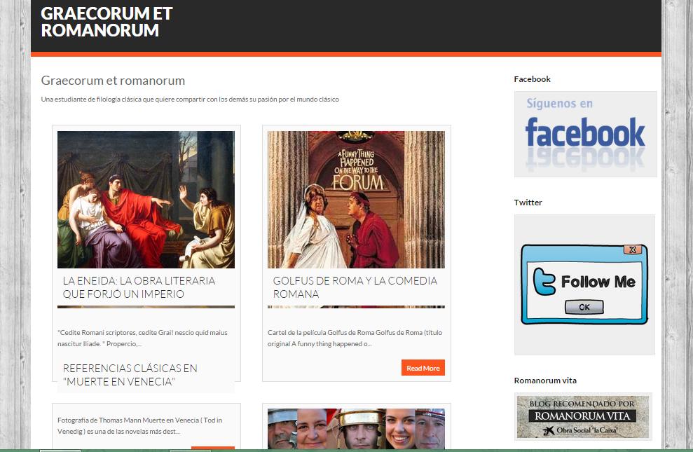 Captura de pantalla general de este gran blog del mundo clásico grecorromano