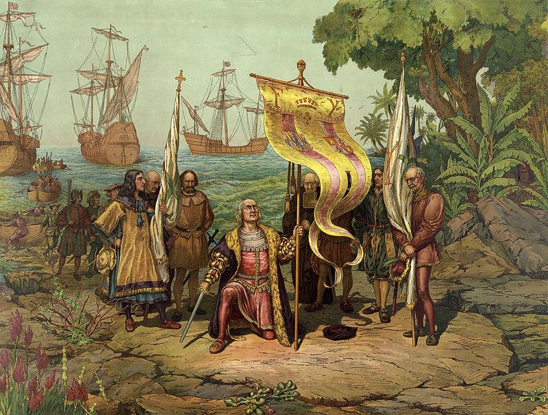 Cuadro que representa la llegada de Cristóbal Colón a Guanahani
