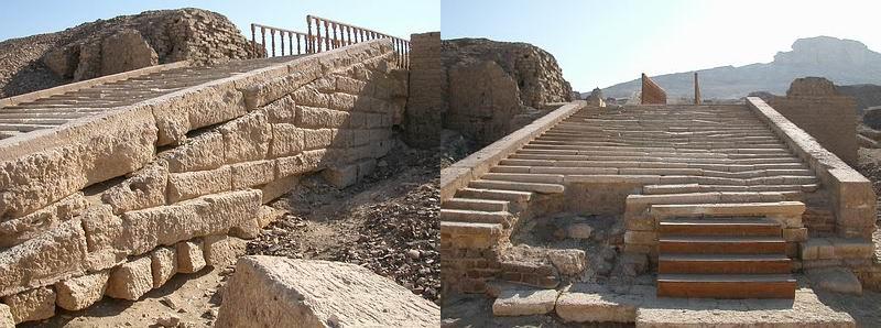 Vista general del estado actual de las escaleras de acceso al templo de Hieracómpolis, del Reino Antiguo egipcio