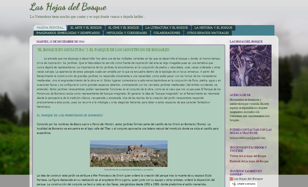 Captura de pantalla general de este blog dedicado a los bosques