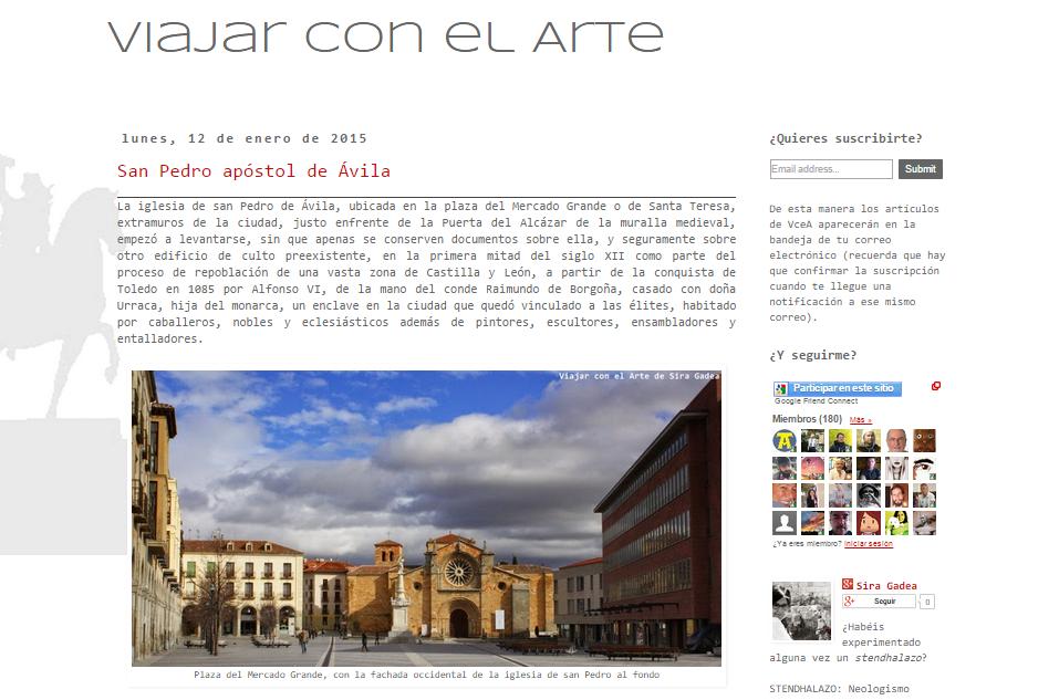 Captura de pantalla general de este gran blog de Arte, viajes e Historia