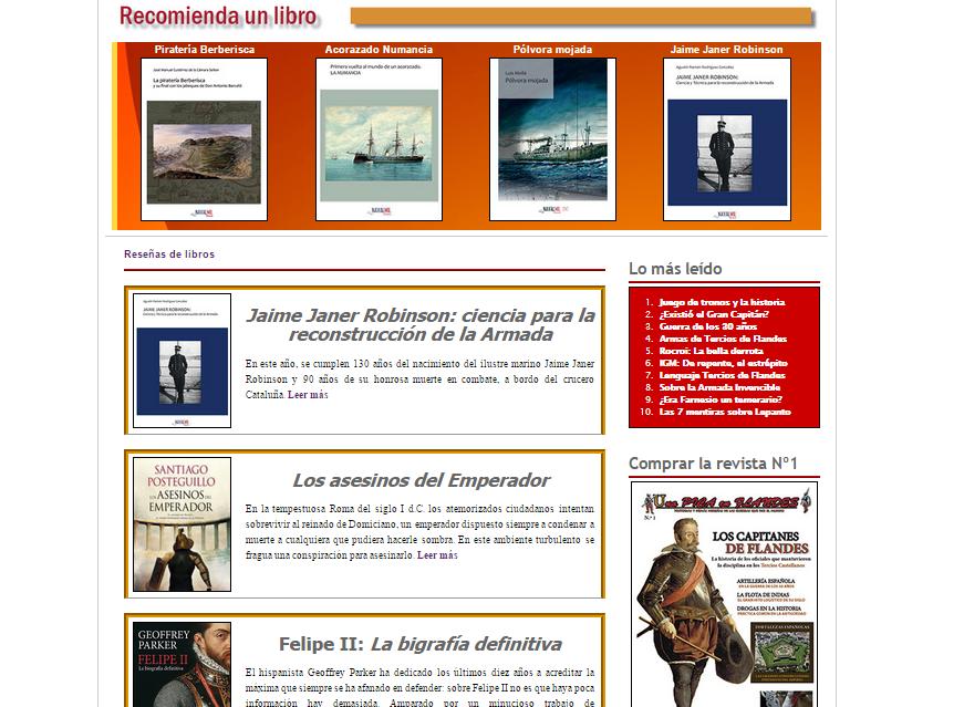 Captura de pantalla de una de las secciones de esta magnífica web