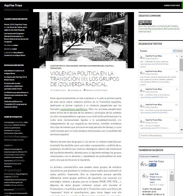 Captura de pantalla de uno de los artículos de este gran blog de Historia general