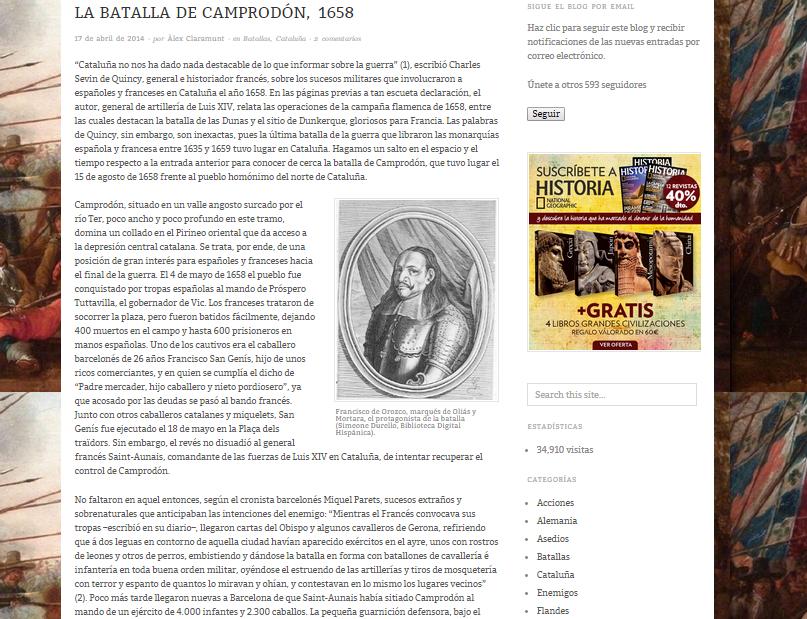 Captura de pantalla de uno de los artículos de este gran blog de Historia militar española