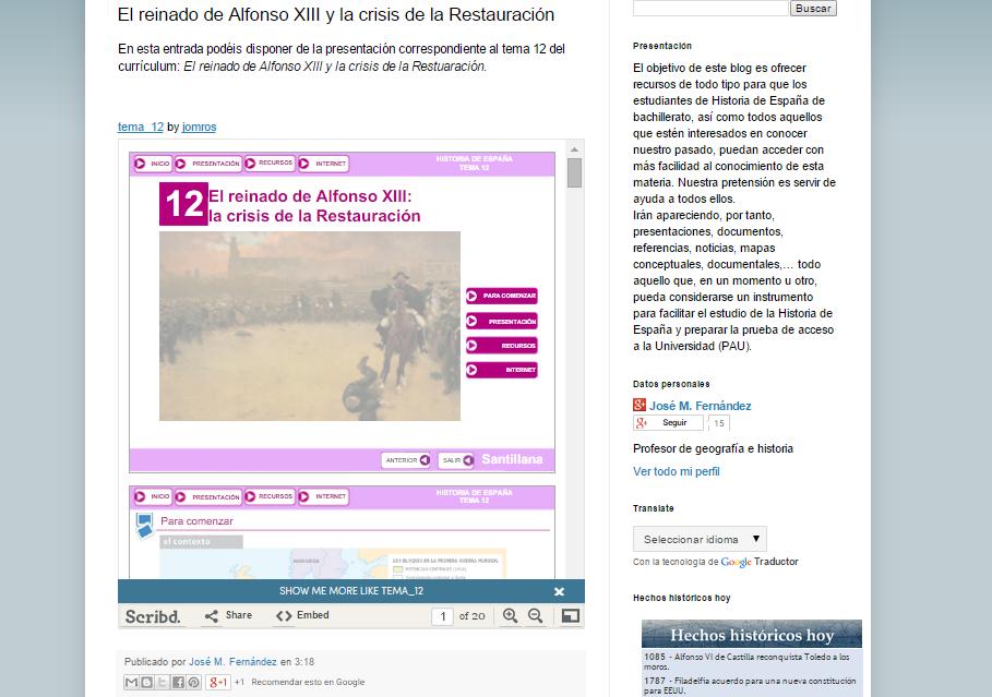 Captura de pantalla de uno de los artículos de este gran blog para estudiantes