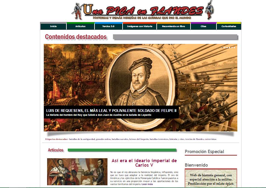 Captura de pantalla general de esta gran web de Historia militar