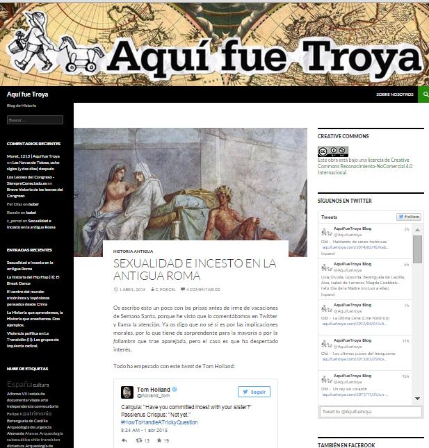 Captura de pantalla general de este gran blog de Historia general