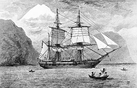 Ilustración en la que se representa al HMS Beagle