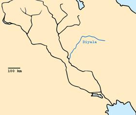Localización del río Diyala en Mesopotamia