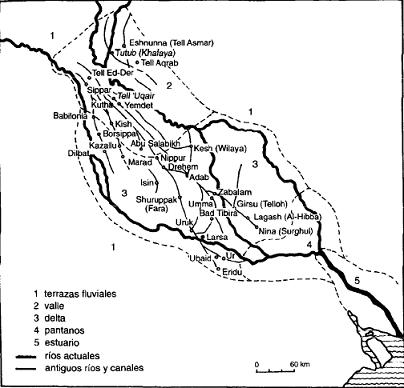 Mapa de la Baja Mesopotamia durante el periodo Protodinástico