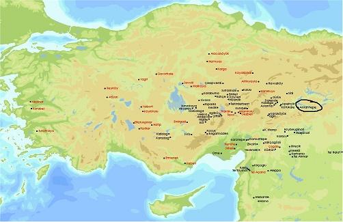 Mapa que muestra la ubicación de Arslantepe