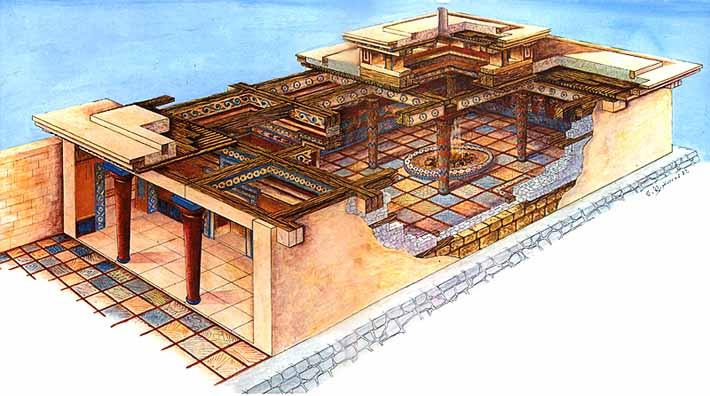 Supuesta reconstrucción de cómo habría sido el megaron del palacio de Pilos