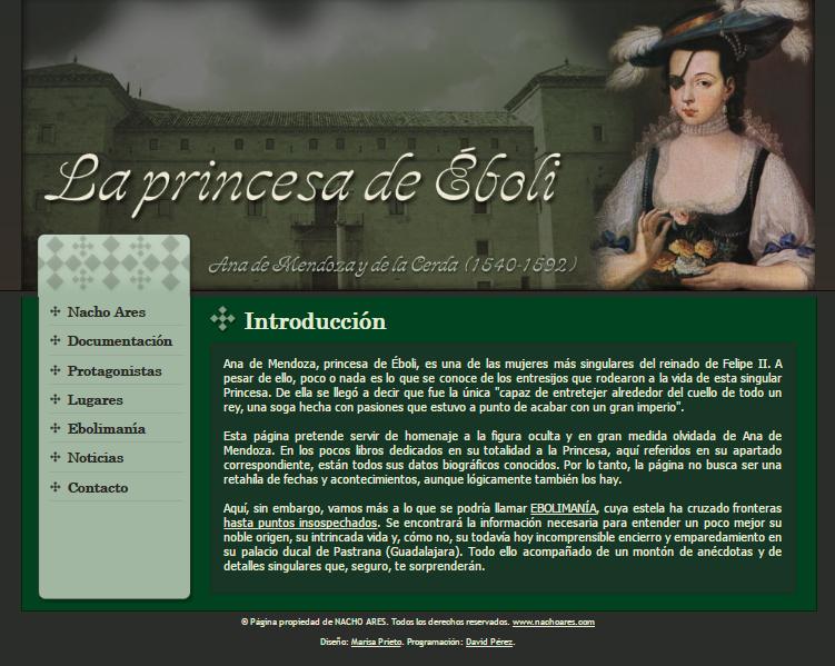 Captura de pantalla de la web sobre la princesa de Éboli