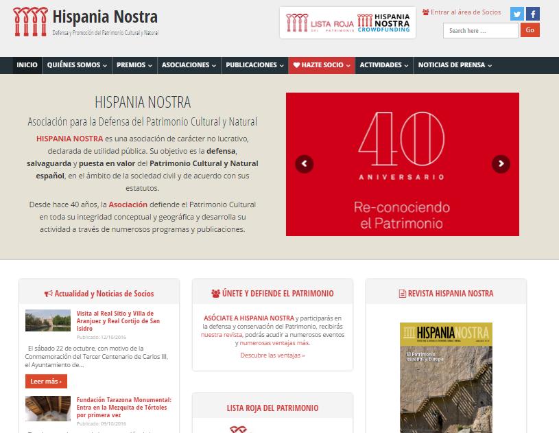Captura de pantalla de la web de la asociación Hispania Nostra