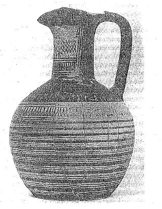 Vaso cerámico griego de estilo geométrico reciente (mediados del siglo VIII a.C.)