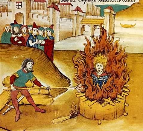 Ilustración medieval de quema en la hoguera de alguien sin identificar, seguramente un cátaro, sodomita o hereje