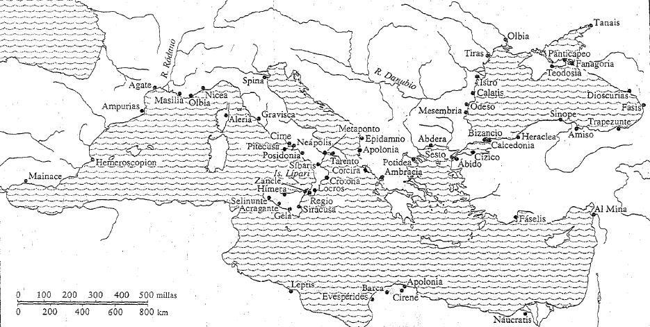 Mapa de la colonización a la que recurrió la sociedad griega entre el 750 y el 500 a.C. (fuente: Pomeroy)