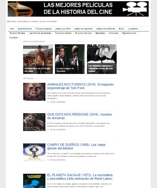 Captura de pantalla general de este gran blog de cine