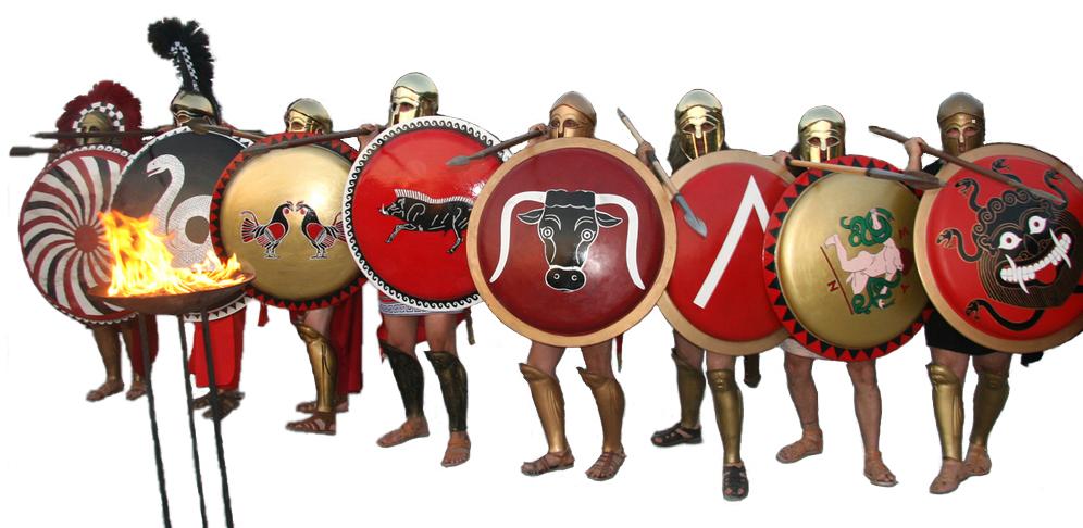 Recreación de una fila de falange de hoplitas