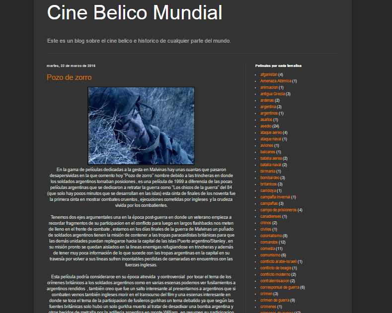 Captura de pantalla general de este gran blog de cine bélico-histórico