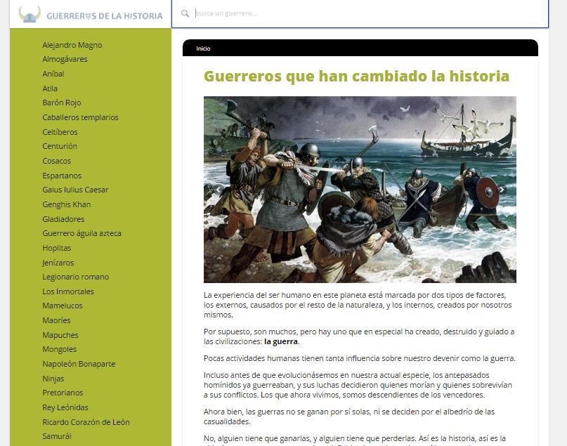 Captura de pantalla general del blog Guerreros de la Historia