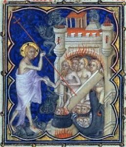 Cristo sacando a los Justos del Infierno en Les petites heures du Duc de Berry, ca 1390
