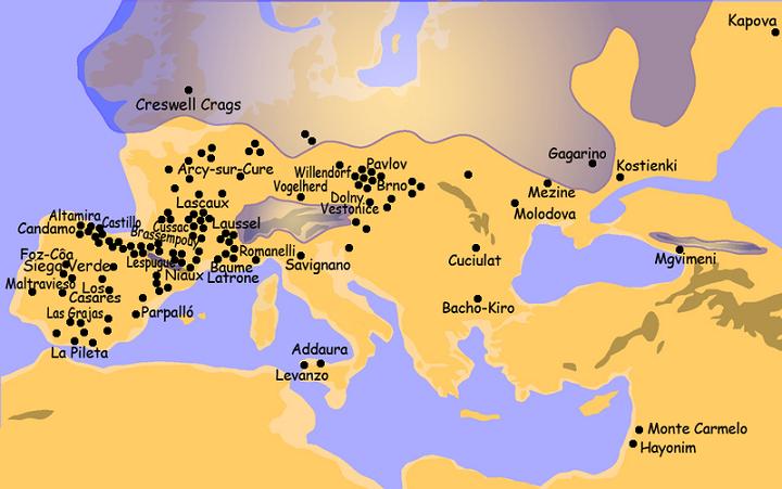 Mapa de distribución del arte rupestre del paleolítico superior europeo