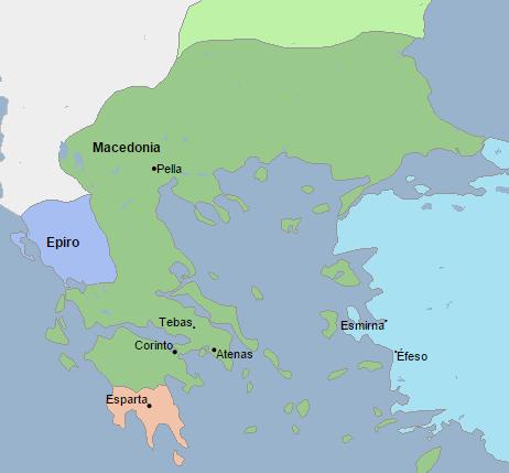 Mapa que muestra la extensión de Macedonia en el 336 a.C., año de la muerte de Filipo II