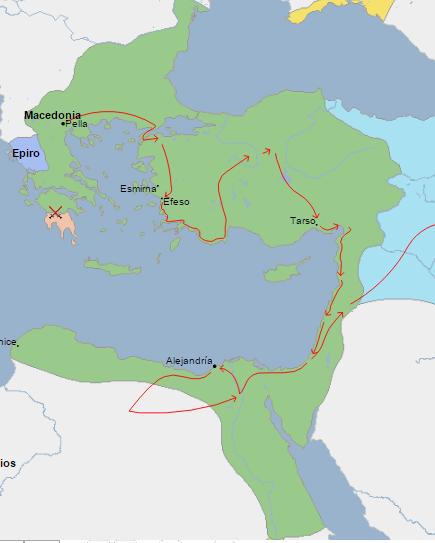 Mapa que muestra la extensión del imperio macedónico al incorporar Egipto, Anatolia y la franja sirio palestina