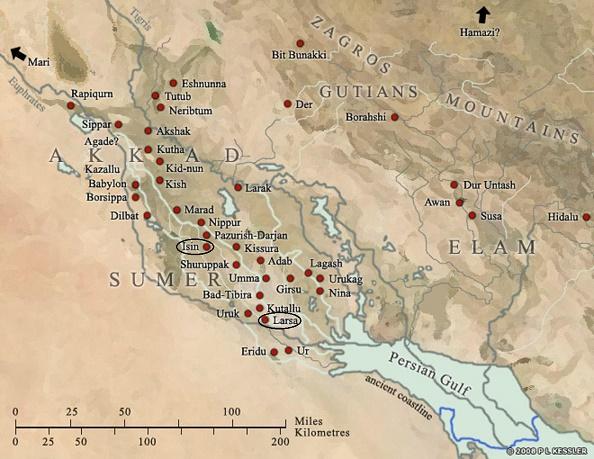 Mapa de la Baja Mesopotamia en el que se distingue la ciudad de Larsa (al sur) e Isin (más centrada entre norte y sur)