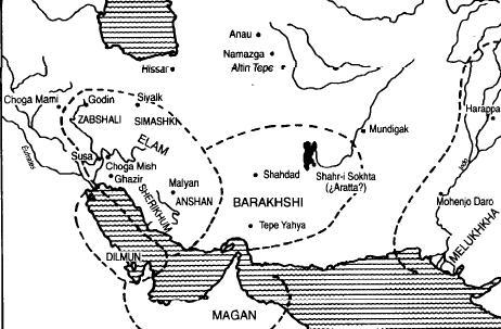 Mapa que muestra la extensión de las periferias orientales y surorientales del imperio de Ur