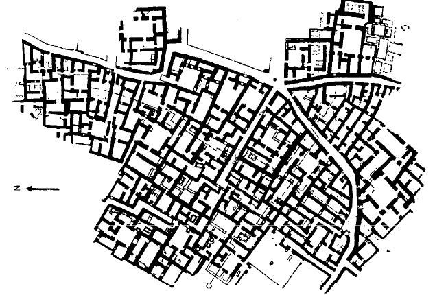 Vista parcial de la planta urbanística de Ur durante el periodo Isin-Larsa