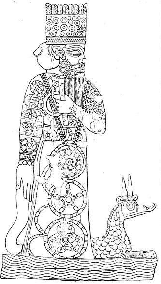 El dios Marduk de Babilonia con un dragón de mascota
