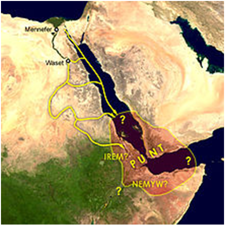 Posible ubicación de la tierra de Punt, foco de las expediciones de Herkhuf