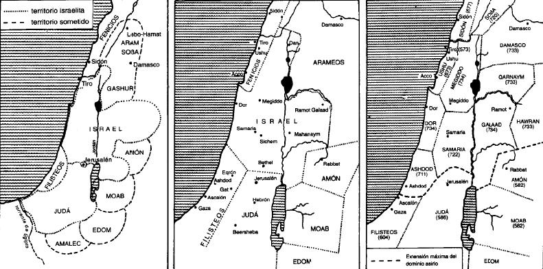 Palestina en el siglo X (izquierda), en los siglos IX-VIII (centro), y en los siglos VII y VI a.C. (derecha)