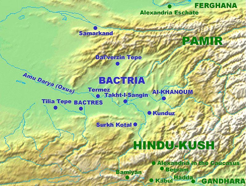 Mapa con las principales ciudades de Bactriana, uno de los pueblos iranios