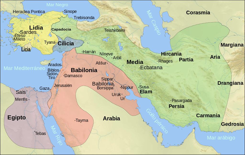 Mapa de Próximo Oriente en el siglo VI aC según los textos de Herodoto, incluyendo el Imperio Medo