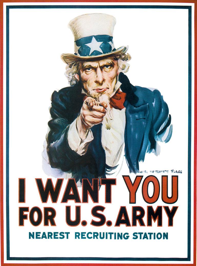 Famoso cartel estadounidense del Tío Sam llamando a reclutamiento en la I Guerra Mundial