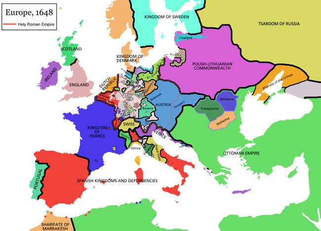 Mapa de Europa en 1648, mostrando las consecuencias de la Guerra