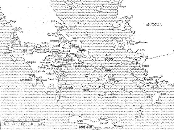 El mundo de la civilización micénica en el siglo XIII a.C., anterior a la edad oscura griega