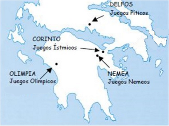Mapa griego en el que salen ubicados los cuatro grandes juegos panhelénicos