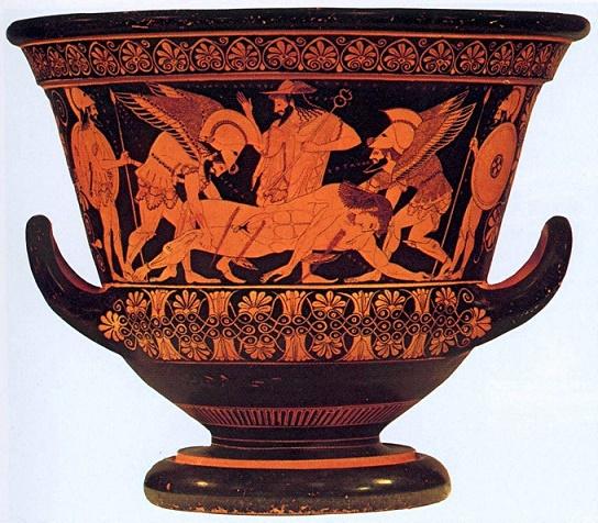 Pieza cerámica de figuras rojas de temática mitológica