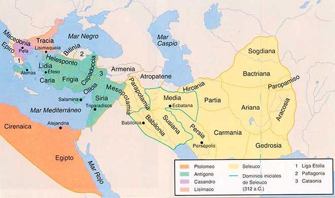 División por reinos y provincias del imperio macedónico tras la muerte de Alejandro Magno