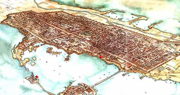 Reconstrucción del aspecto de Alejandría, capital de uno de los reinos helenísticos, Egipto