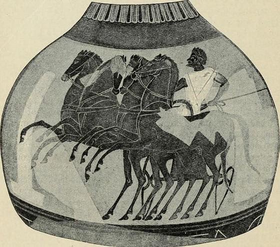 Ánfora espartana sobre las carreras en los Juegos Olímpicos
