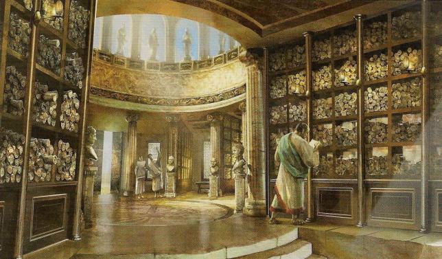 Posible reconstrucción de una de las salas de la Gran Biblioteca de Alejandría