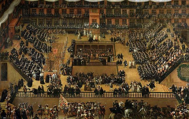 Auto de Fe en la Plaza Mayor de Madrid, por Francisco Rizi 1683. En uno de estos fue juzgado Eleno de Céspedes