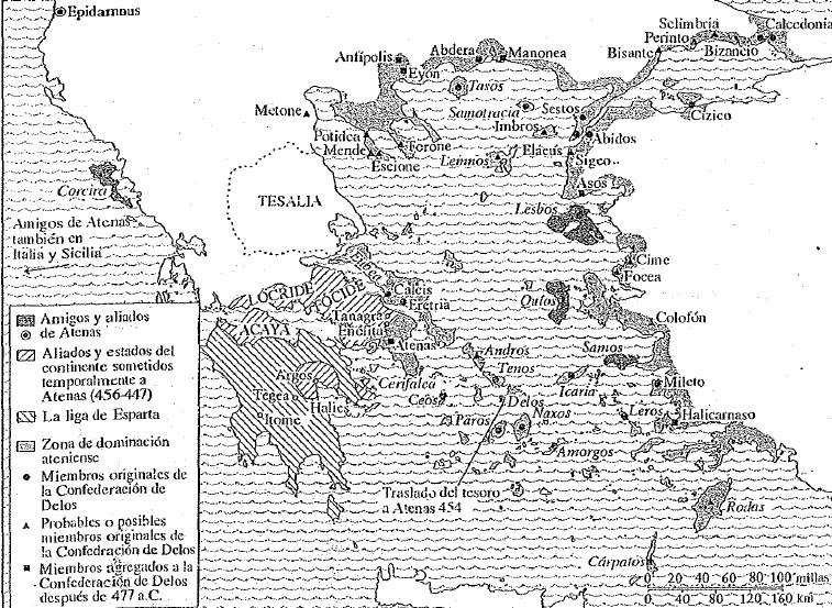 El imperio ateniense en su punto culminante, consecuencias de las Guerras Médicas (Pomeroy, 2012)