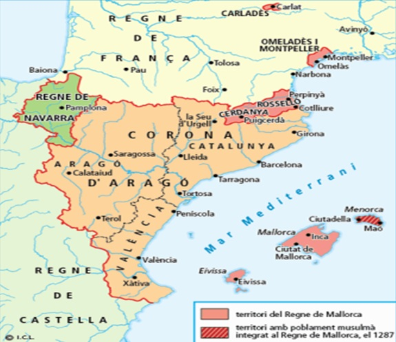 Mapa de la Corona de Aragón a la muerte de Jaime I (1276)
